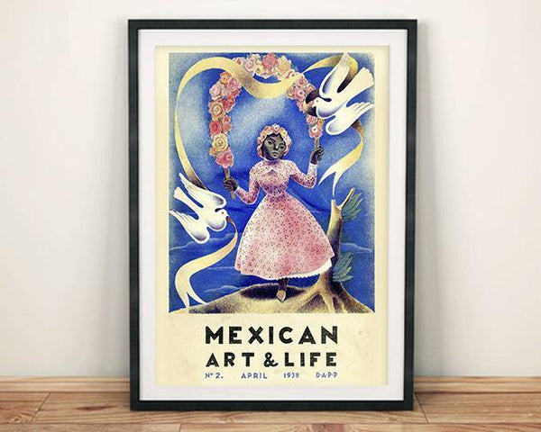 ART & LIFE POSTER: 1930s Mexican Magazine Cover Doves Print
