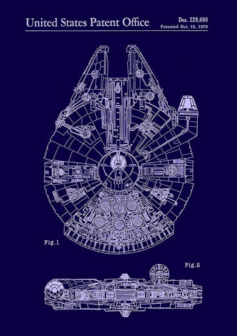 MILLENNIUM FALCON PRINT: Patent Design Artwork Poster - The Print Arcade