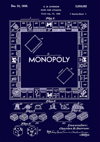 MONOPOLY PATENT PRINT: Board Game Blueprint Artwork