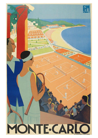 MONTE CARLO TRAVEL POSTER: Vintage Tennis Art Print - The Print Arcade