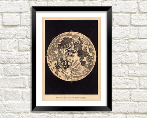 MOON ART PRINT: Vintage Lunar Illustration - The Print Arcade