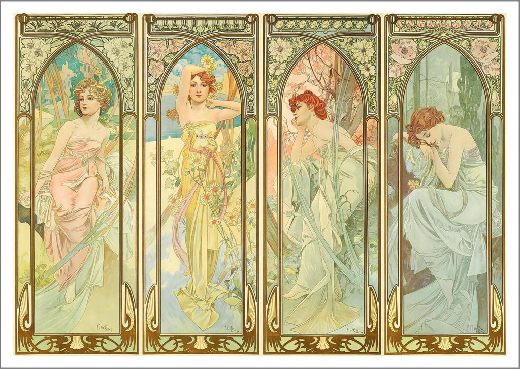 ALPHONSE MUCHA: Times of Day Art Print - The Print Arcade