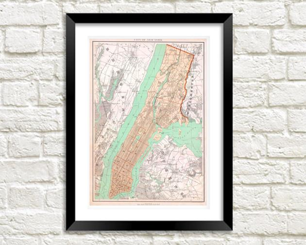 NEW YORK MAP: Vintage City Map Print - The Print Arcade