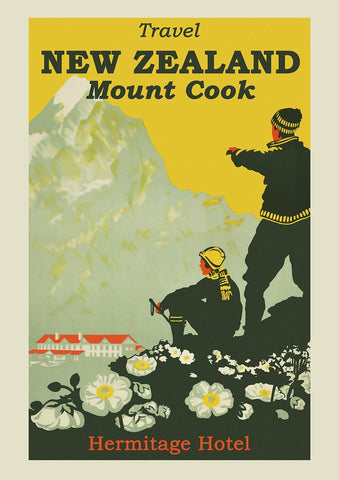 NEW ZEALAND PRINT: Mount Cook Travel Poster