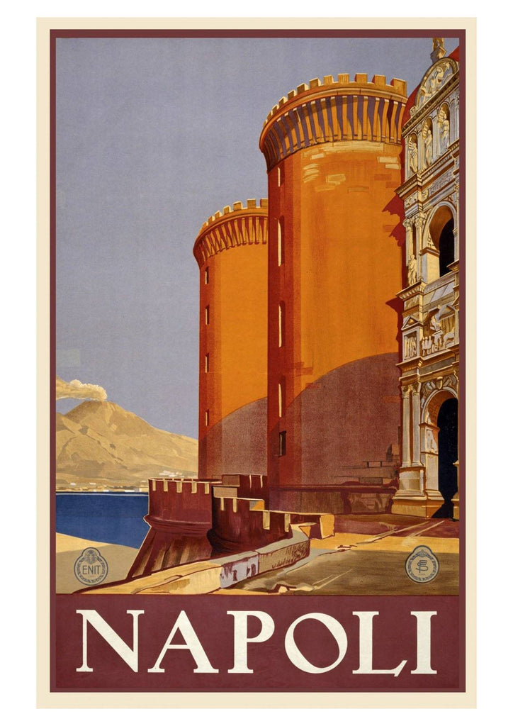 NAPOLI TRAVEL POSTER: Italian Travel Advert with Castle - The Print Arcade