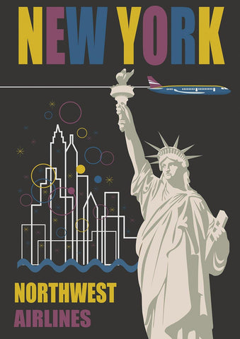 NEW YORK POSTER: Northwest Statue of Liberty Travel Advert