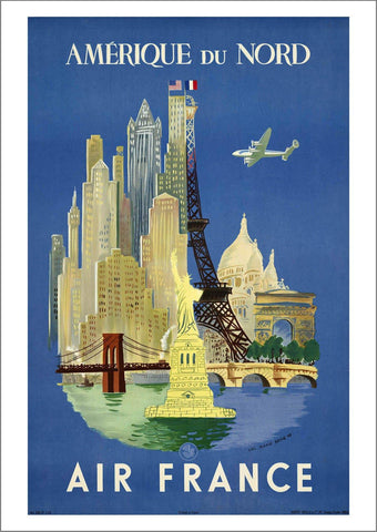 NORTH AMERICA POSTER: Vintage Airline Travel Print - The Print Arcade