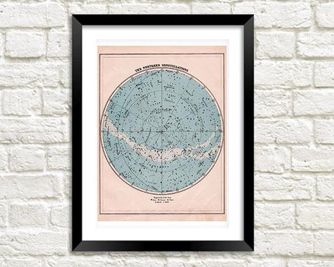 NORTHERN CONSTELLATIONS PRINT: Star Globe Map Art