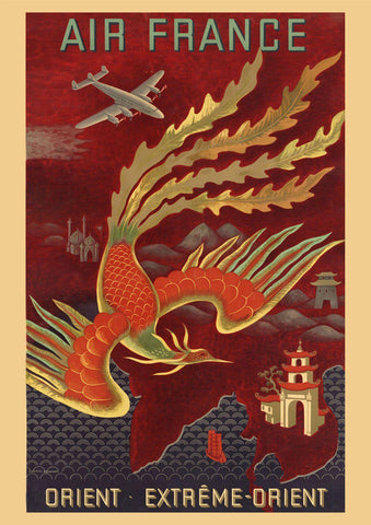FAR EAST POSTER: Vintage Travel Advert Dragon Art Print - The Print Arcade