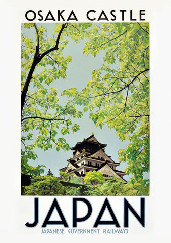 OSAKA CASTLE POSTER: Vintage Japan Travel Print - The Print Arcade