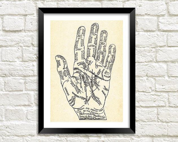 PALMISTRY PRINT: Fortune Teller Art Illustration - The Print Arcade