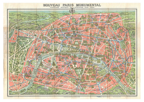 PARIS MAP: Vintage French Map Print