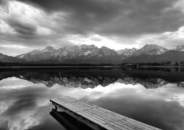 PIER AT THE LAKE: Black and White Photography Print