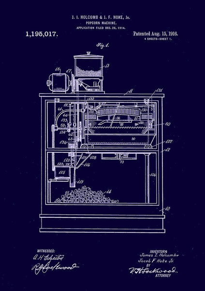 POPCORN MACHINE PRINT: Patent Blueprint Artwork