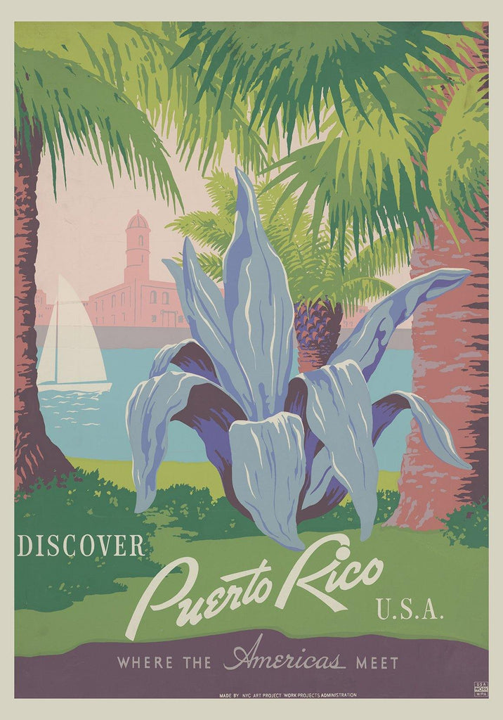 PUERTO RICO POSTER: Vintage WPA Travel Print
