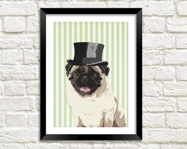 PUG IN TOP HAT: Fun Dog Art Print - The Print Arcade