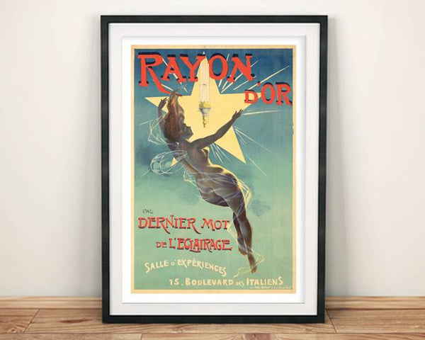 RAYON D'OR POSTER: Vintage French Lightbulb Advert Print - The Print Arcade