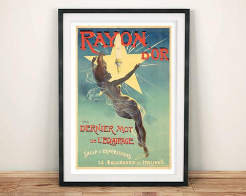 RAYON D'OR POSTER: Vintage French Lightbulb Advert Print