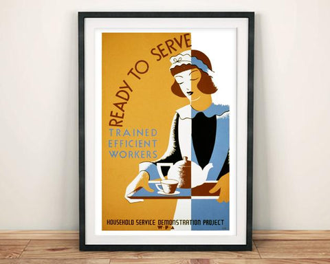 READY TO SERVE POSTER: Vintage Maid Advert Print