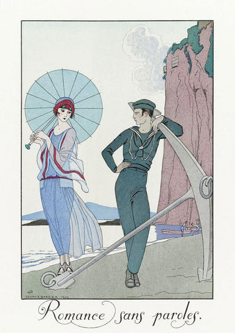 GEORGE BARBIER PRINT: Romance sans Paroles, Beach scene
