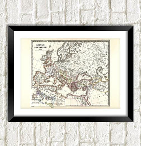 ROMAN EMPIRE MAP: Vintage Imperium Romanorum Reproduction Art Print