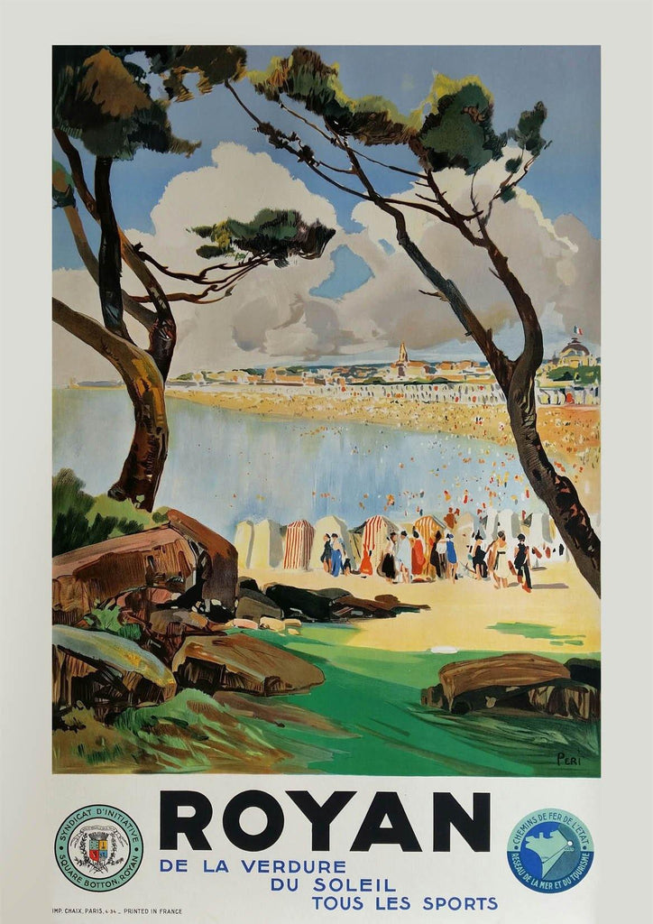 ROYAN BEACH POSTER: Vintage French Travel Print - The Print Arcade