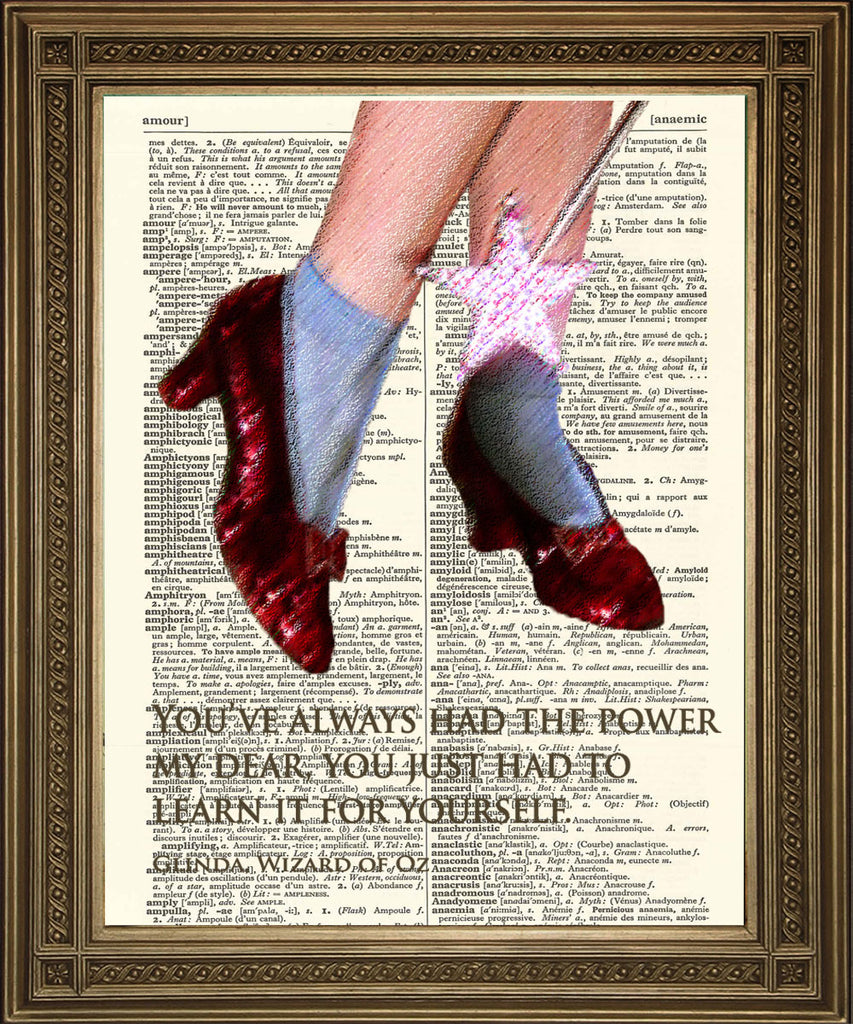 WIZARD OF OZ: Ruby Slippers 'Power' Quote Dictionary Art Print