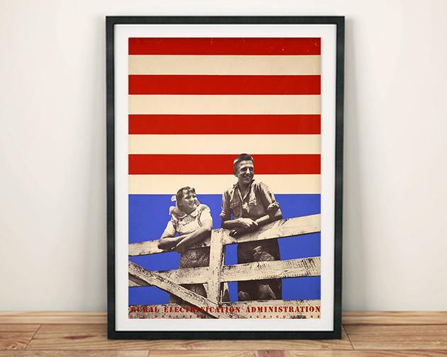 STARS AND STRIPES POSTER: Retro Rural Electrification Advert Print
