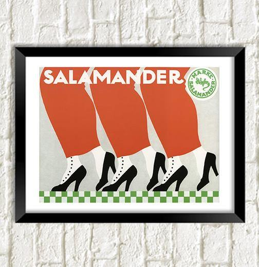 SALAMANDER SHOES POSTER: Vintage Advert Art Print - The Print Arcade