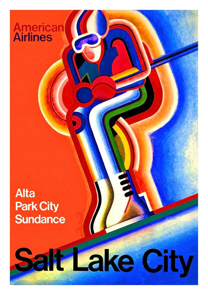 SALT LAKE CITY POSTER: American Ski Travel Advert - The Print Arcade