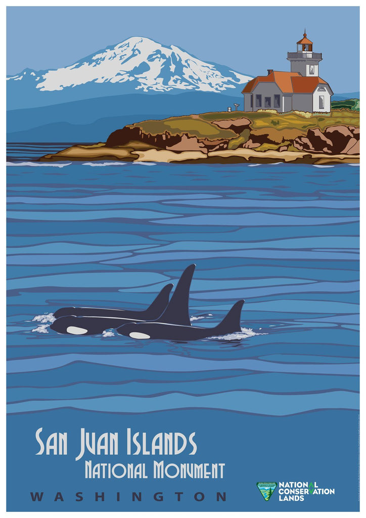 SAN JUAN ISLANDS POSTER: Killer Whales Travel Advert