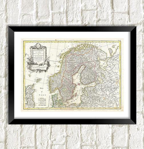 SCANDINAVIA MAP: Vintage Swedish, Norwegian Atlas Art Print