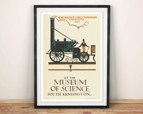 SCIENCE MUSEUM POSTER: Vintage Steam Train Exhibition Print