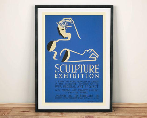 SCULPTURE POSTER: Blue Art Exhibition Print