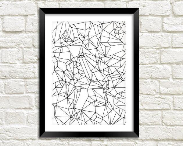 GEOMETRIC ART PRINT: Monochrome Shape Drawing - The Print Arcade