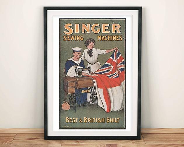 SINGER POSTER: Vintage Sewing Machine Advert