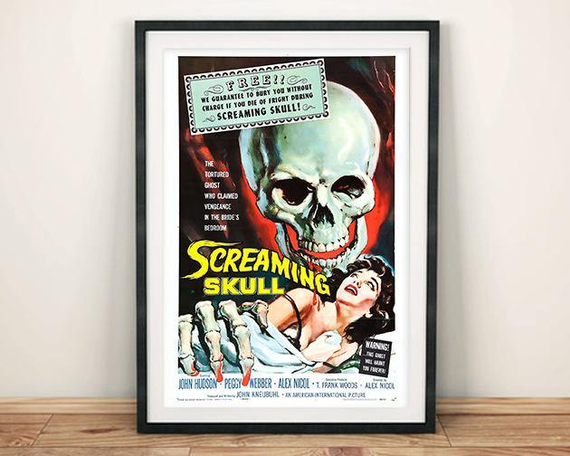 HORROR MOVIE CINEMA POSTER: Screaming Skull Print - The Print Arcade