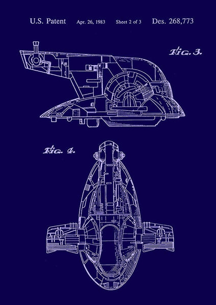 SPACESHIP PRINT: Star Wars Slave Patent Art Poster - The Print Arcade
