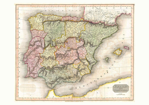IBERIA MAP: Vintage Spain and Portugal Atlas Art Print