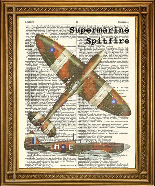 AIRCRAFT ART WW2: Vintage War Planes Dictionary Prints - The Print Arcade