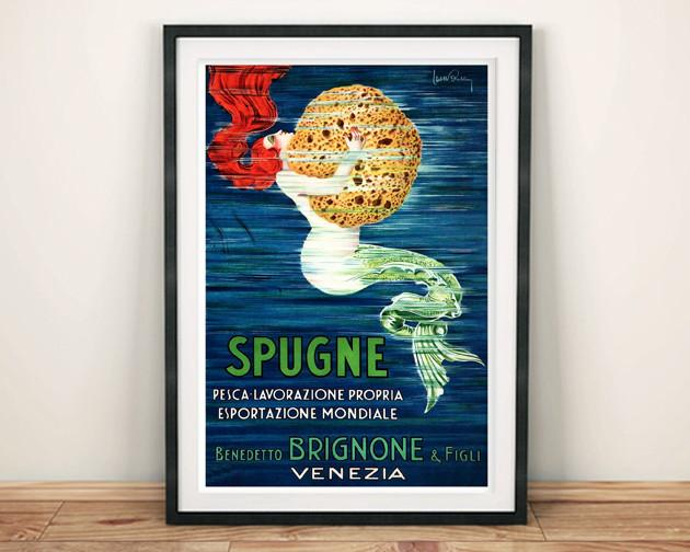 SPONGE POSTER: Vintage Spugne Mermaid Art Print - The Print Arcade