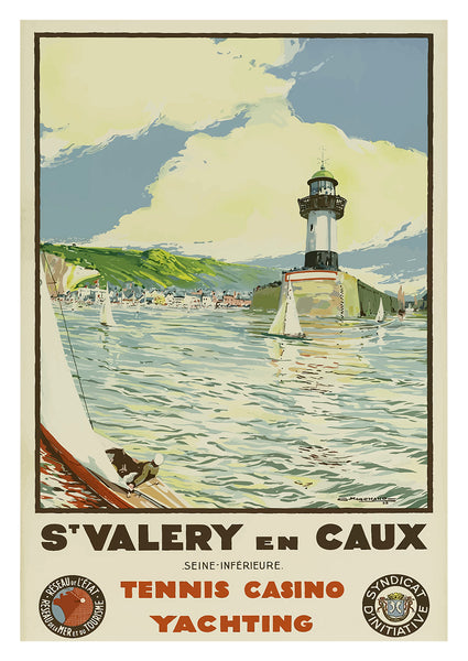 ST VALERY POSTER: Vintage Tennis Casino Yachting Travel Print