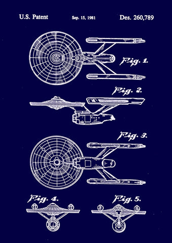 STAR TREK PRINT: Starship Enterprise Patent Design Poster