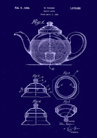 TEAPOT PATENT PRINT: Blueprint Artwork