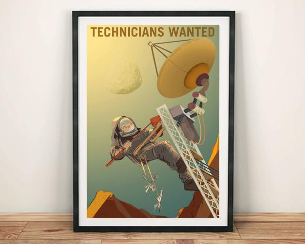 TECHNICIANS WANTED: NASA Space Art Poster - The Print Arcade