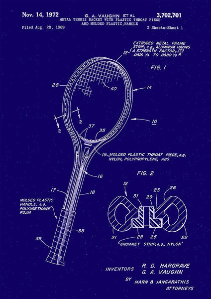 TENNIS RACKET PATENT PRINT: Sport Blueprint Artwork