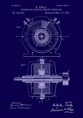 TESLA PATENT PRINT: Electric Motor Blueprint Artwork