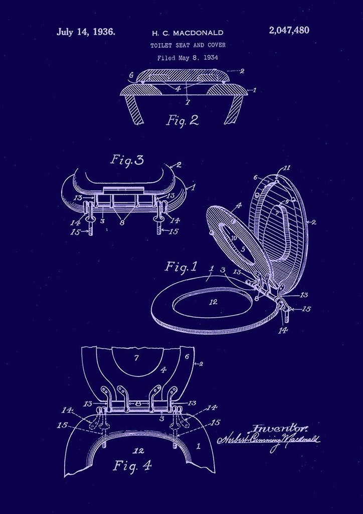 TOILET SEAT PATENT: Bathroom Blueprint Art - The Print Arcade