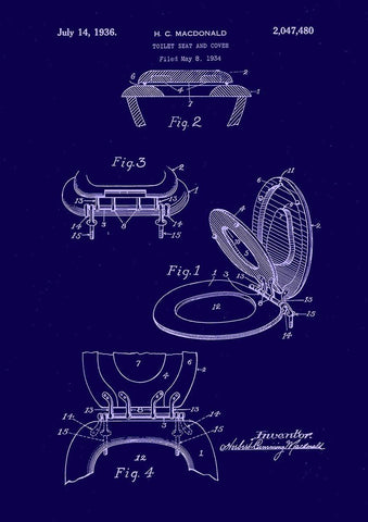 TOILET SEAT PATENT: Bathroom Blueprint Art