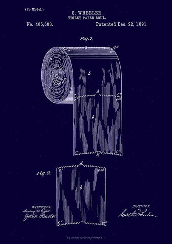 TOILET ROLL PATENT: Bathroom Loo Paper Blueprint Art